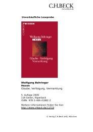 Wolfgang Behringer Hexen Glaube, Verfolgung ... - C.H. Beck
