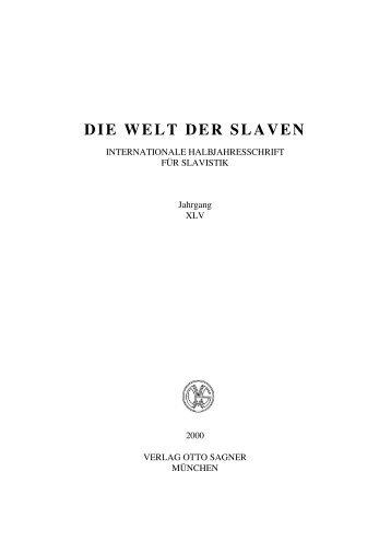 DIE WELT DER SLAVEN - Institut für Slavische Philologie