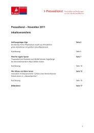 Pressedienst – November 2011 Inhaltsverzeichnis