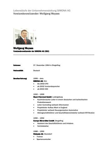Vorstandsvorsitzender: Wolfgang Moyses - Simona AG