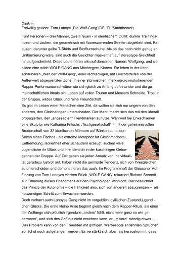 """Gießen Tom Lanoye """"WOLF-GANG"""" - ZMI"""