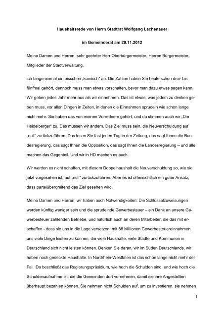 1 Haushaltsrede von Herrn Stadtrat Wolfgang ... - Stadt Heidelberg