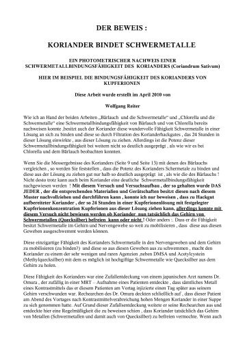 DER BEWEIS : KORIANDER BINDET SCHWERMETALLE