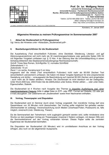 Prof. Dr. iur. Wolfgang Heinz - Universität Konstanz