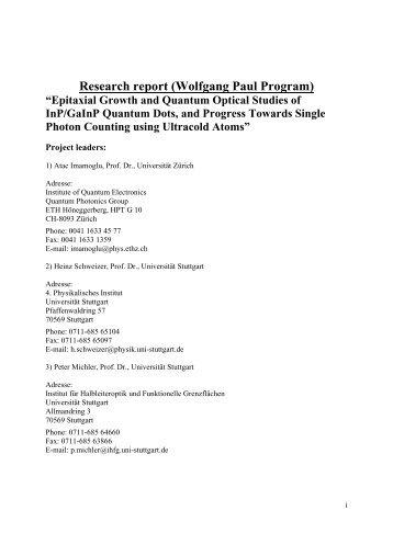 Wolfgang Paul Program - 4. Physikalisches Institut - Universität ...