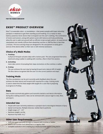 EKSo™ Product ovErviEw - Ekso Bionics