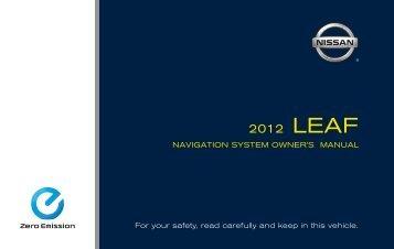 2012 Nissan LEAF Navigation System Owner's Manual