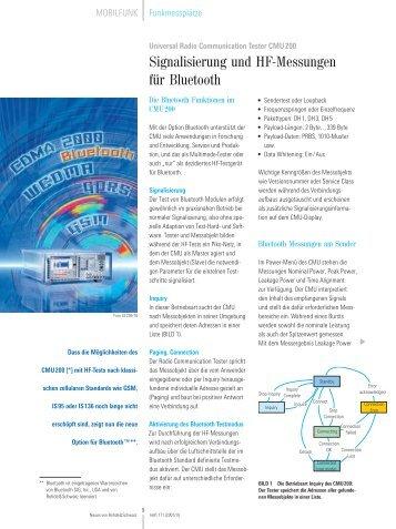 Signalisierung und HF-Messungen für Bluetooth - Rohde & Schwarz