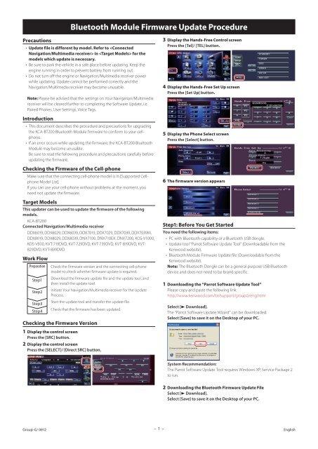 Bluetooth Module Firmware Update Procedure - Kenwood