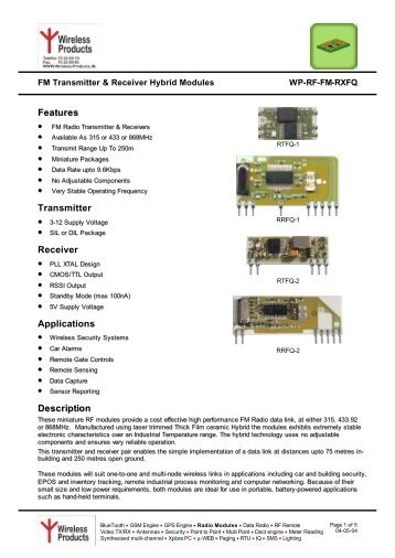 Description Features Transmitter Receiver ... - Wireless Products