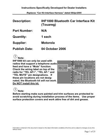 Description: IHF1000 Bluetooth Car Interface Kit (Touareg) Part ...