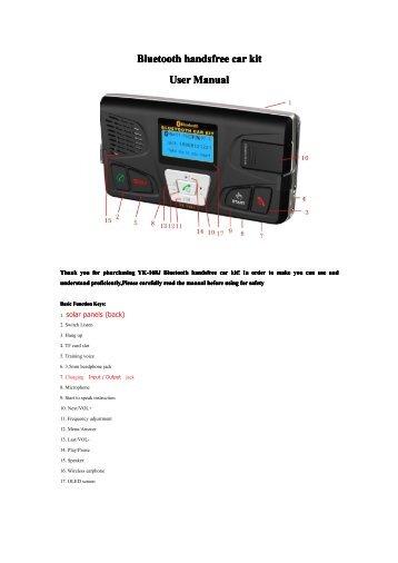 Bt Car Kit Manual