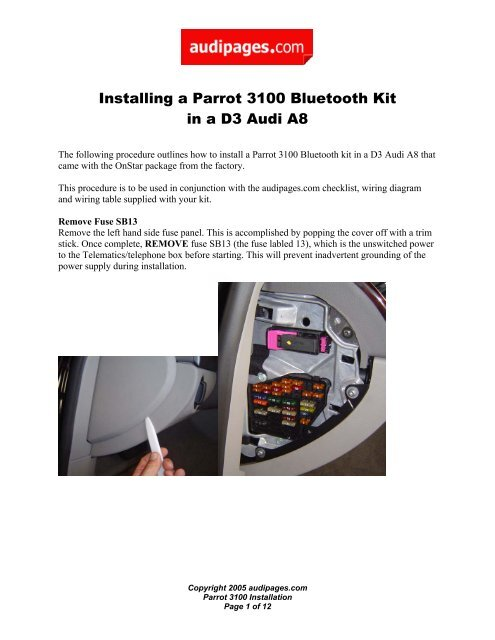 installing a parrot 3100 bluetooth kit in a d3 audi a8 audipages 2013 audi a8 fuse box wiring diagram libraries