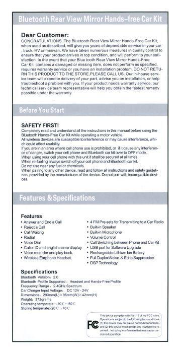 Bluesky Bluetooth Hands Free Car Kit