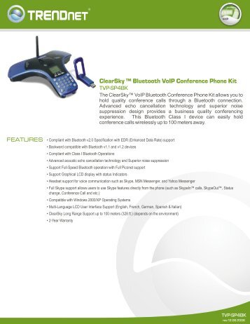 ClearSky ™ Bluetooth VoIP Conference Phone Kit - TRENDnet
