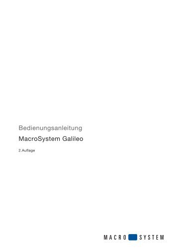 Bedienungsanleitung MacroSystem Galileo – 2.Auflage
