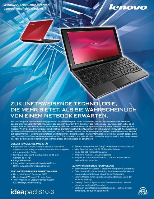 Lenovo IdeaPad S10-3 Netbook Datasheet