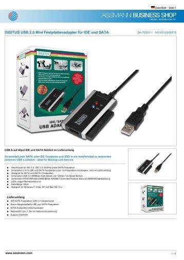 DIGITUS USB 2.0 Mini Festplattenadapter für IDE ... - Ingram Micro