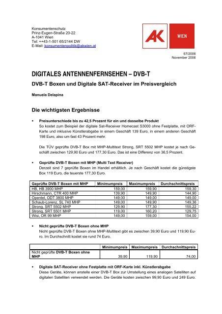 digitales antennenfernsehen – dvb-t - Arbeiterkammer Wien