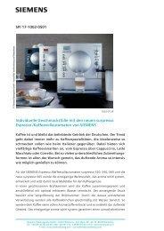 SPI 17-1002-0501 Individuelle Geschmacksfülle mit den ... - Siemens
