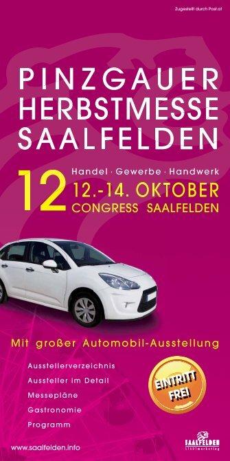Öffnungszeiten Pinzgauer Herbstmesse 2012 Congress Saalfelden