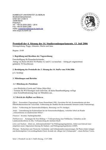 Protokoll der 4. Sitzung des 14 ... - StuPa - HU Berlin