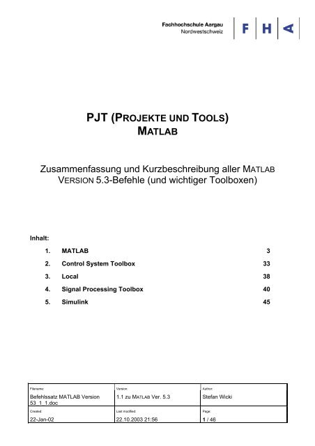 pjt (projekte und tools) matlab - wicTronic
