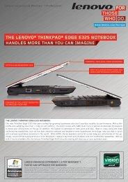 the lenovo® thinkpad® edge e325 notebook - Lenovo Partner Network