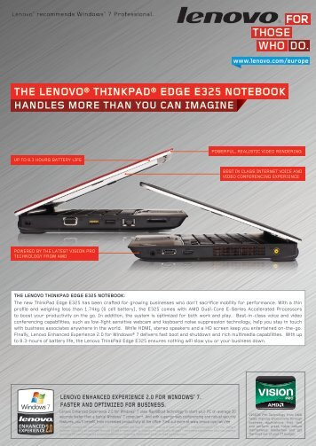 the lenovo® thinkpad® edge e325 notebook - Lenovo Partner Network