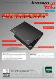 THE LENOVO® THINkPAD® X121e NOTEbOOk - Lenovo Partner ...