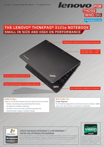 THE LENOVO® THINkPAD® X121e NOTEbOOk - Lenovo Partner ...