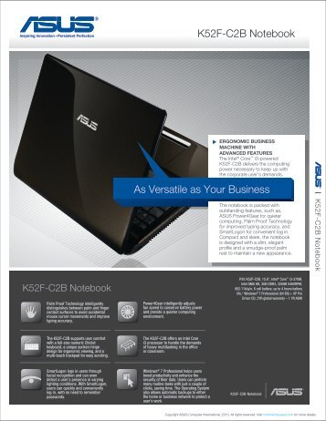 As Versatile as Your Business K52F-C2B Notebook - Asus ...