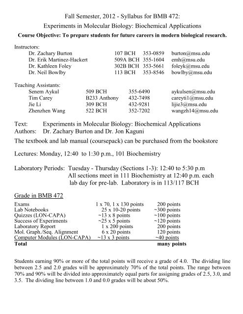 Syllabus for BMB 472: Experiments in Molecular Biology