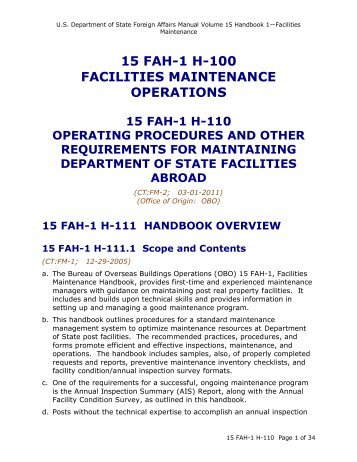 15 FAH-1 H-110 Facilities Maintenance Operations - US Department ...