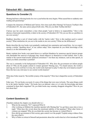 451 essay fahrenheit question Suggested essay topics and study questions for ray bradbury's fahrenheit 451 fahrenheit 451 essay questions and answers perfect for students who have to write.