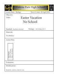 Easter Vacation No School - Galena Park ISD Moodle