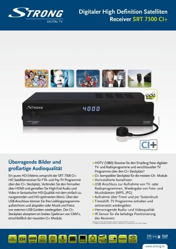 Digitaler High Definition Satelliten Receiver SRT 7300 CI+