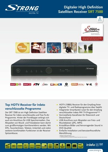 Digitaler High Definition Satelliten Receiver SRT 7500 - STRONG ...