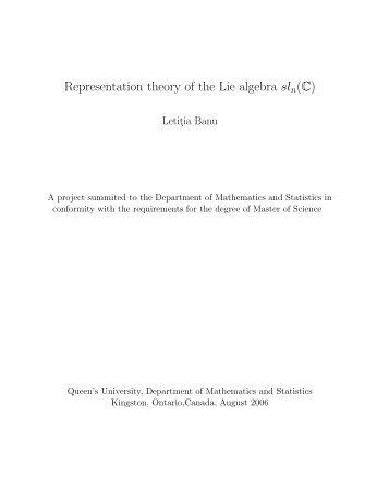 Representation theory of the Lie algebra sln(C) - Department of ...