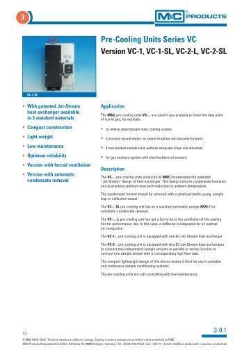 Pre-Cooling Units Series VC Version VC-1, VC-1-SL, VC-2-L, VC-2 ...