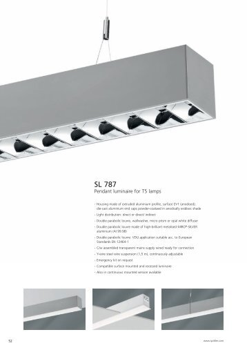 Pendant luminaires for continuous mounting sl 650 pendant luminaire sl 787 aloadofball Choice Image