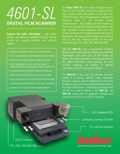4601-sl digital film scanner - Indus International