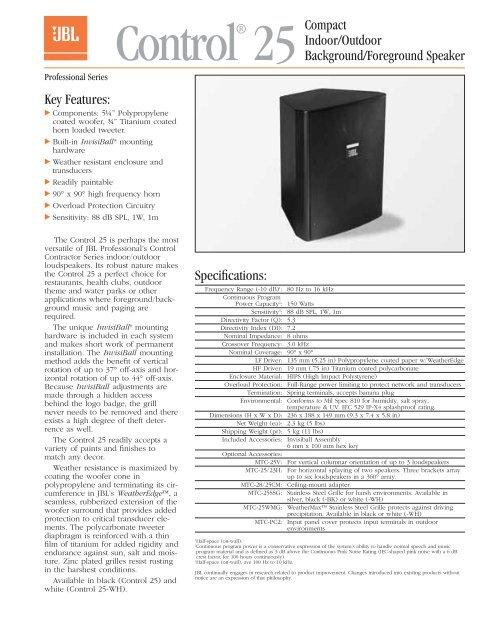 JBL Control 25 Speaker Spec Sheet - Fitness AV