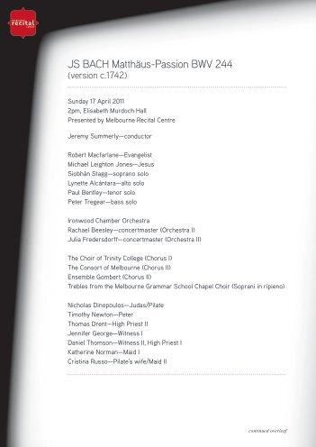 JS BACH Matthäus-Passion BWV 244 - Melbourne Recital Centre