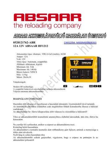 0520121762-ABR 12A 12V ABSAAR HF1212 - Metroman