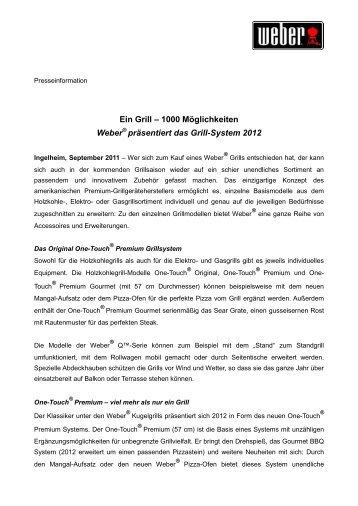 1000 Möglichkeiten Weber präsentiert das Grill-System 2012 - Press1
