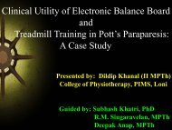 Clinical Utility of Electronic Balance Board and Treadmill Training in ...