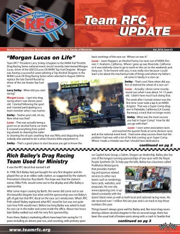"Rich Bailey's Drag Racing Team Used for Ministry ""Morgan Lucas ..."