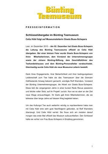 Wechsel Museumsleitung Bünting Teemuseum