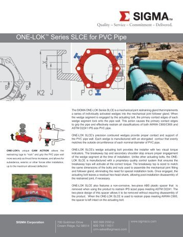 ONE-LOK™ Series SLCE for PVC Pipe - SIGMA Corporation